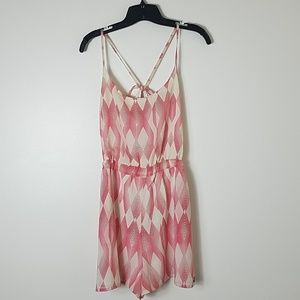 Roxy size large pink and cream romper